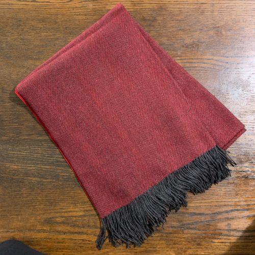 Black and Red Herringbone Alpaca Throw