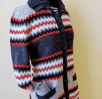 Grey and Red Alpaca Zigzag Sweater