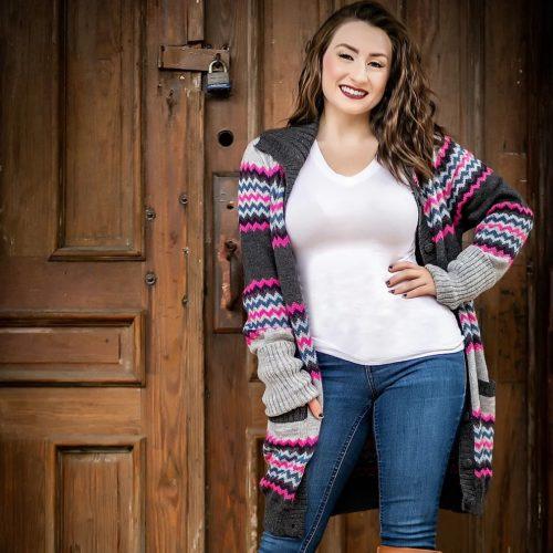 Grey and Pink Alpaca Zigzag Sweater