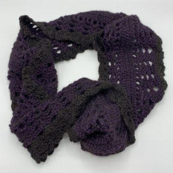 Black and Purple Alpaca Infinity Scarf