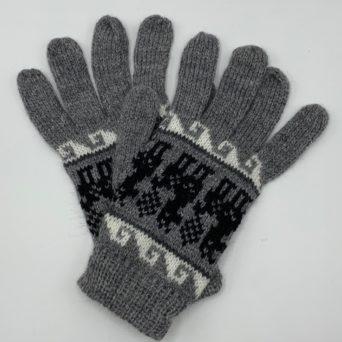 Medium Silver Grey Peruvian Print Gloves