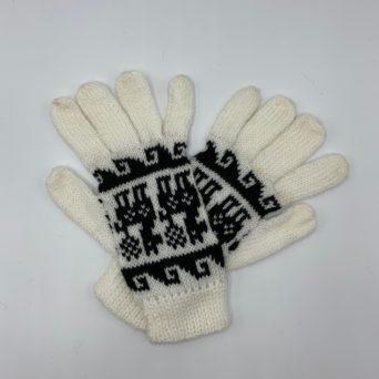 White and Black Peruvian Print Gloves