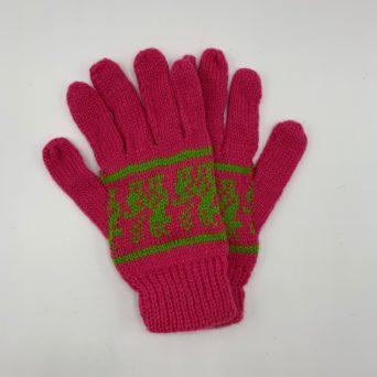 Dark Pink Peruvian Print Gloves