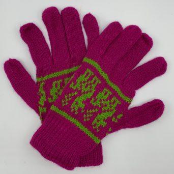Raspberry Peruvian Print Gloves