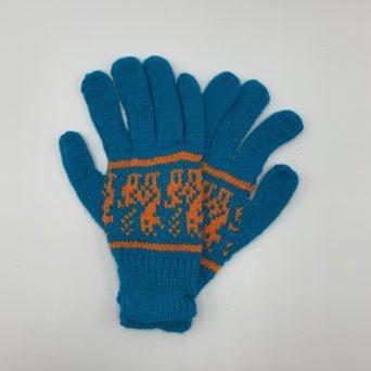 Aqua Blue Peruvian Print Gloves