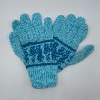 Light Blue Peruvian Print Gloves