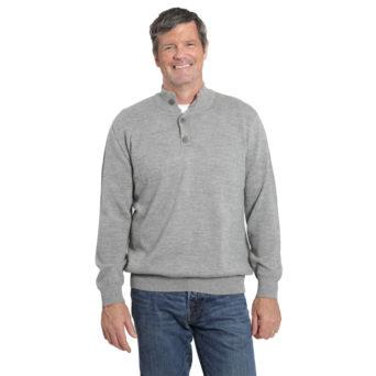 Men's 3 Button Pullover Alpaca Sweater in Smoke