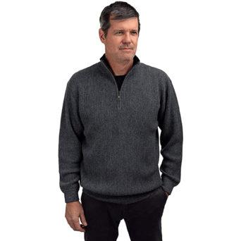 Men's Quarter-Zip Alpaca Sweater in Dark Grey