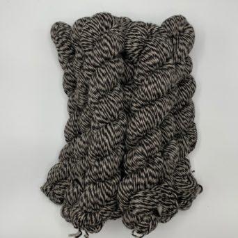 True Black & Silver Grey Striped Yarn