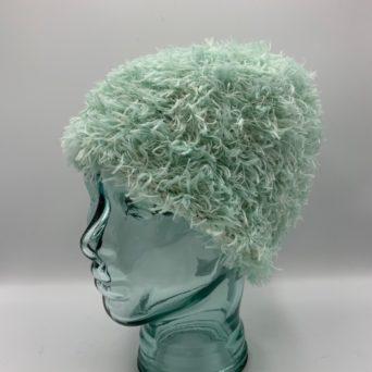Mint Green Alpaca Fiber & Fun Fur Hat
