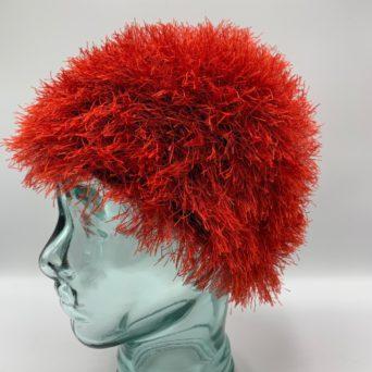 Red Alpaca Fiber & Fun Fur Hat