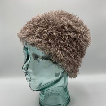 Light Brown & White Alpaca Fiber & Fun Fur Hat