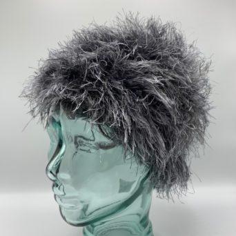 Dark Silver Grey & White Alpaca Fiber & Fun Fur Hat