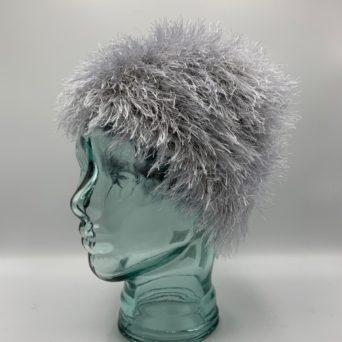 Light Silver Grey Alpaca Fiber & Fun Fur Hat