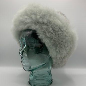 Light Silver Grey Baby Alpaca Fur Hat