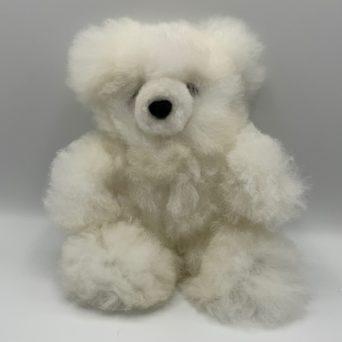 "10"" White Teddy Bear Made From Baby Alpaca"