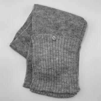 Light Silver Grey Alpaca Scarf With Pockets