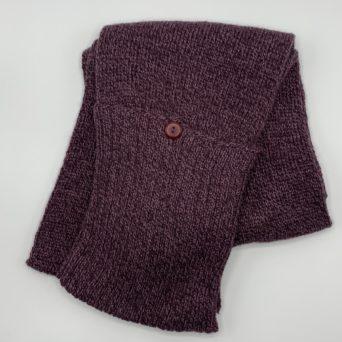 Maroon Knit Baby Alpaca Scarf With Pockets
