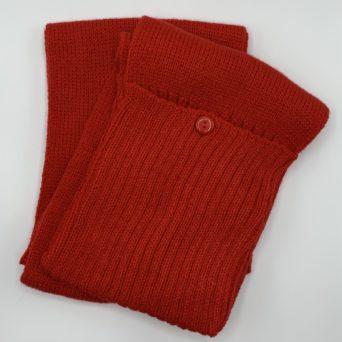 Red Knit Alpaca Scarf With Pockets