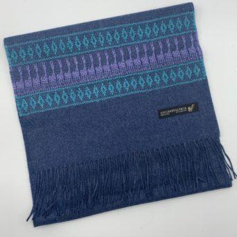 Royal Blue Baby Alpaca Scarf With Peruvian Design