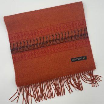 Dark Orange Baby Alpaca Scarf With Peruvian Design