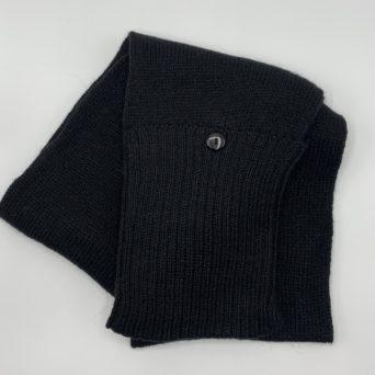 Black Baby Alpaca Scarf With Pockets