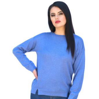 Camila Baby Alpaca Pullover Sweater in Blue Iris