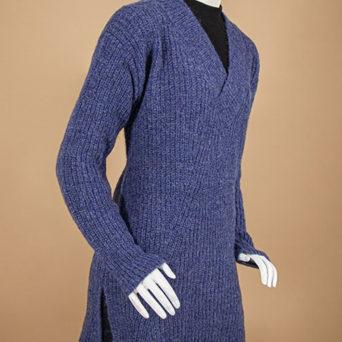 V Neck Brushed Alpaca Sweater in Prussian Blue