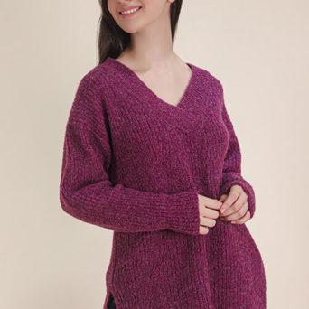 V Neck Brushed Alpaca Sweater in Plum