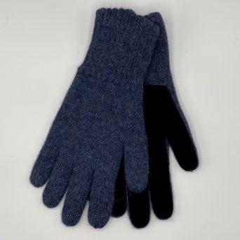 Men's Alpaca Driving Gloves in Denim Blue
