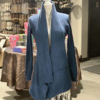 Long Alpaca Sweater in Steel Blue