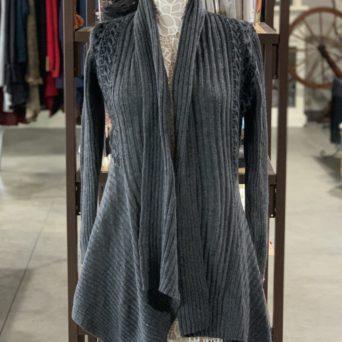Long Alpaca Sweater in Grey W/ Black Peruvian Print