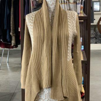 Long Alpaca Sweater in Light Fawn W/ White Peruvian Print