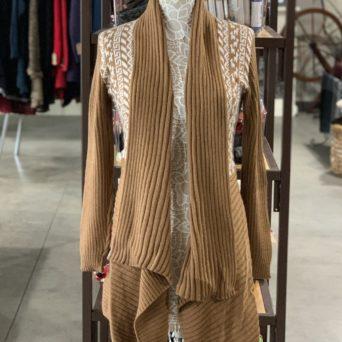 Long Alpaca Sweater in Dark Fawn W/ White Peruvian Print
