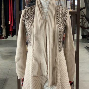 Long Alpaca Sweater in Beige W/ Brown Peruvian Print