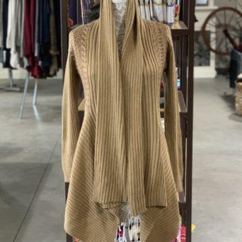 Long Alpaca Sweater in Light Fawn W/ Brown Peruvian Print