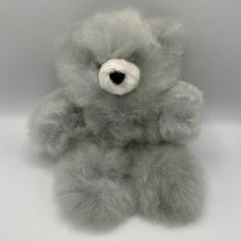 "10"" Light Silver Grey Teddy Bear Made From Baby Alpaca"