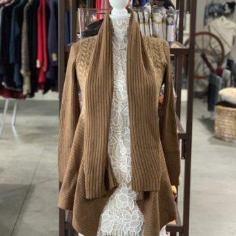 Long Alpaca Sweater in Dark Fawn W/ Light Fawn Print