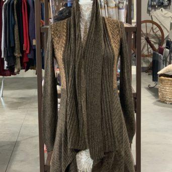 Long Alpaca Sweater in Brown Melange W/ Peruvian Print