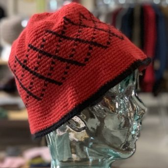 Red and Black Knit Alpaca Hat