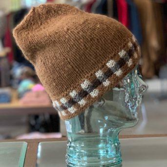 Dark Fawn Hand Knit Alpaca Cap