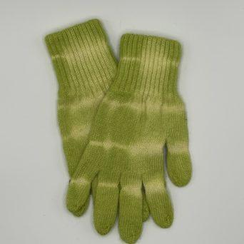 Tie-Dyed Alpaca Gloves in Light Green