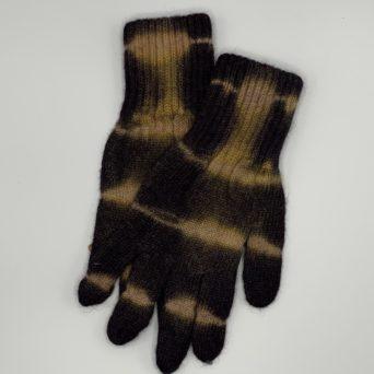 Tie-Dyed Alpaca Gloves in Brown