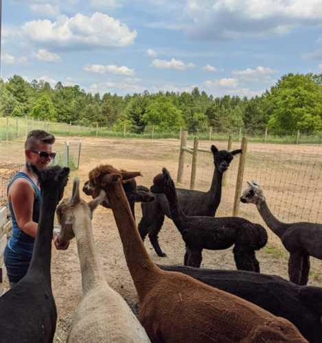 Tonya Surrounded by Alpaca Lov